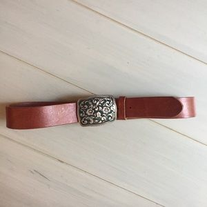 GAP Leather Belt with Turquoise & Silver Buckle